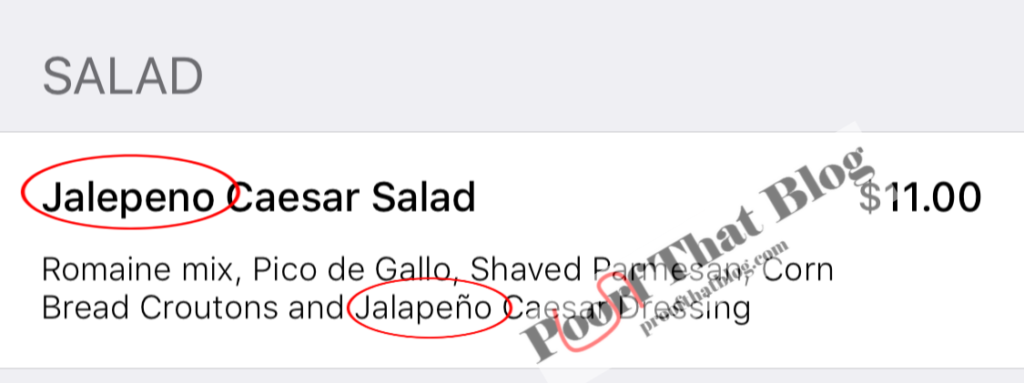 """Example of the word """"jalapeno"""" spelled two different ways"""